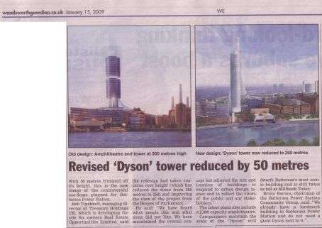 Wandsworth Guardian 15/01/2009 - Revised Dyson tower reduced by 50 meters