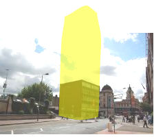 155 Falcon Road hotel proposal - building mark yellow