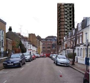 Mossbury Road with hotel proposal - montage