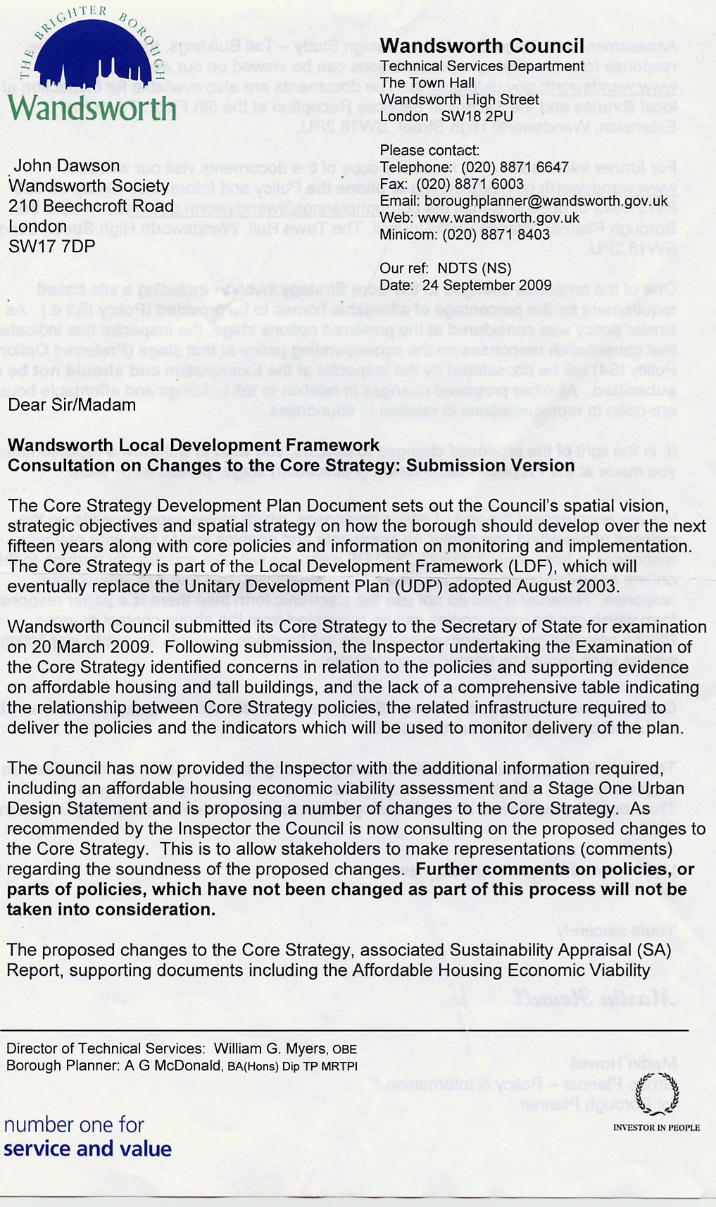 Tall building policy – Resubmission Cover Letter